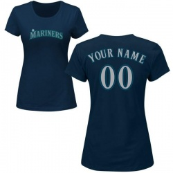 Women's Custom Seattle Mariners Custom Roster Name & Number T-Shirt - Navy
