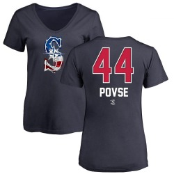 Women's Max Povse Seattle Mariners Name and Number Banner Wave V-Neck T-Shirt - Navy