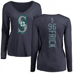 Women's Patrick Frick Seattle Mariners Backer Slim Fit Long Sleeve T-Shirt - Navy